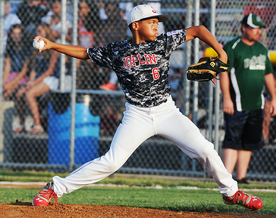 Globe/Roger Nomer<br /> Joplin's Zach Westmorland delivers a pitch during Monday's 11-12-year old Little League Championship at Sunny Jim Field.