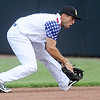 Blasters second baseman Sergio Leon handles a ground ball during Joplin's game against the Wichita Wingnuts on Friday night at Joe Becker Stadium.<br /> Globe   Laurie Sisk
