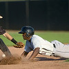 Joplin second baseman Mitch Glasser can't hold onto the ball as Kansas City's Vladimir Frias slides safely into ssecond base during the Blasters' game against the T-Bones on Friday night at Joe Becker Stadium.<br /> Globe | Laurie Sisk