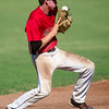 The Bull Pen shortstop Wyatt Sparks has trouble finding the handle on a hard hit ground ball but recovers for the out during his team's game against the Arkansas Prospects on Thursday night at Joe Becker Stadium.<br /> Globe | Laurie Sisk