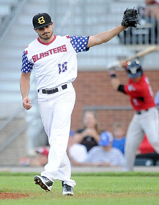 Blasters starter Ethan Rosebeck reacts after giving up a third home run during Joplin's game against the Wichita Wingnuts on Friday night at Joe Becker Stadium. Globe   Laurie Sisk