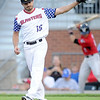 Blasters starter Ethan Rosebeck reacts after giving up a third home run during Joplin's game against the Wichita Wingnuts on Friday night at Joe Becker Stadium.<br /> Globe | Laurie Sisk