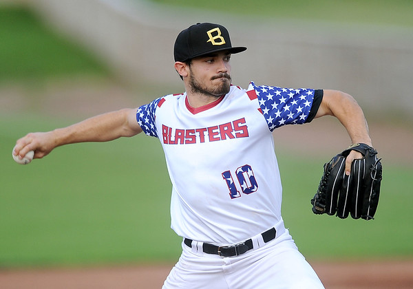 Blasters starter Ethan Rosebeck throws from the mound during Joplin's game against the Wichita Wingnuts on Friday night at Joe Becker Stadium.<br /> Globe | Laurie Sisk