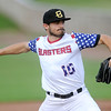 Blasters starter Ethan Rosebeck throws from the mound during Joplin's game against the Wichita Wingnuts on Friday night at Joe Becker Stadium.<br /> Globe   Laurie Sisk