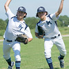 Bay City Yankees ambidextrous pitcher shows his special skill before the start of a game in the Premier Baseball tournament on Friday in Commerce, Okla.<br /> Photo Illustration/Laurie Sisk