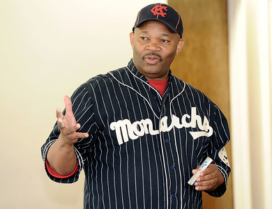 Phil S. Dixon, author and co-founder of the Negro Leagues Museum in Kansas City, visits the Joplin Public Library on Thursday for a presentation on the Kansas City Monarchs. Globe   Laurie Sisk