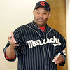 Phil S. Dixon, author and co-founder of the Negro Leagues Museum in Kansas City, visits the Joplin Public Library on Thursday for a presentation on the Kansas City Monarchs.<br /> Globe | Laurie Sisk