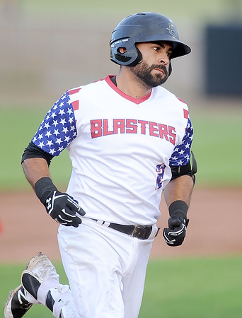 Joplin's Willie Cabrera rounds the bases after a solo home run during the Blasters' game against the Wichita Wingnuts on Friday night at Joe Becker Stadium.<br /> Globe | Laurie Sisk
