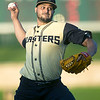 Joplin starter Alex De La Cruz throws from the mound during the Blasters' game against the T-Bones on Friday night at Joe Becker Stadium.<br /> Globe | Laurie Sisk