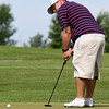 Dustin Edge, of Carthage, putts on the no. 4 green during the Ozark Amateur on Saturday at Schifferdecker Golf Course.<br /> Globe | Laurie Sisk