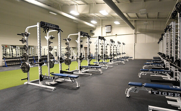 A weightroom inside the new Carthage High School fieldhouse sits ready for use on Friday.<br /> Globe | Laurie Sisk