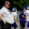 Joplin coach Curtis Jasper watches his players during a joint practice with JHS, Pittsburg and Neosho on Thursday at Pittsburg's Hutchinson Field.<br /> Globe | Laurie Sisk
