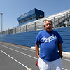 Carthage Athletic Director Andy Youngworth stands inside the new Carthage High School stadium on Friday.<br /> Globe | Laurie Sisk