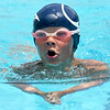 Six-year-old AJ Byers, of Grove,  swims the breast stroke leg of the Boys 8 and under individual medley for the Joplin Stingrays during the Joplin Stingrays Invitational on Saturday at Schifferdecker Pool. Earlier in the day, Byers claimed first place in the Boys 8 and under 25m freestyle. This summer marks Byers first full year of competitive swimming.<br /> Globe | Laurie Sisk