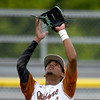 South Texas Sliders shortstop Jalen Battles handles a pop-up in short center during their opening game against the Dallas Mustangs in the 2017 Premier Baseball Junior Championship on Wednesday at Joe Becker Stadium.<br /> Globe | Laurie Sisk