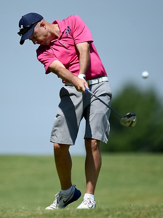 Kyle Catron drives off the no. 3 tee during the Joplin Area Golf Championship on Saturday at Schifferdecker Golf Course.<br /> Globe | Laurie Sisk