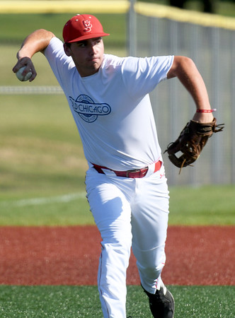 Southwest Missouri All-Stars third baseman Carson Johnson throws out a batter during the All-Stars game against the Texas Stix in the Premier Baseball Under 17 National Championship tournament on Thursday at Wendell Redden Field.<br /> Globe | Laurie Sisk