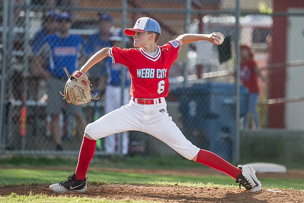 Webb City's Andrew Young throws out a pitch during Monday nights game against Daniel Boone Little League in Joplin, Mo.