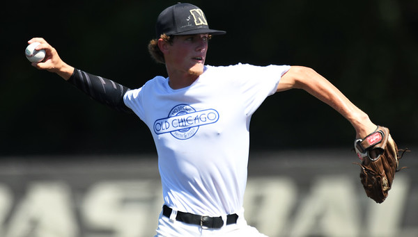 Southwest Missouri All-Stars' starter Gage Kelley delivers a pitch to the plate during their Premier Baseball Under 17 National Championship game against Stix-Mistler on Friday at Warren Turner Field.<br /> Globe | Laurie Sisk