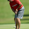 Homer Wilson watches his putt roll toward the cup on the no. 2 green during the Joplin Area Golf Championship on Saturday at Schifferdecker Golf Course.<br /> Globe | Laurie Sisk