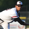 Outlaws reliever Josh Bortka watches his pitch make its way to the plate during Joplin's game against the Jefferson City Renegades on Tuesday night at Joe Becker Stadium.<br /> Globe | Laurie Sisk