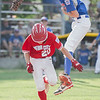 Webb City's Drew Woodmansee makes it safe to first due to a high throw causing Daniel Boone's first baseman Wyatt Jennings in Monday nights game in Joplin, Missouri.