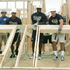 Globe/Roger Nomer<br /> Rookie members of the St. Louis Rams football team raise the wall of a house at 2301 Kentucky on Thursday afternoon.