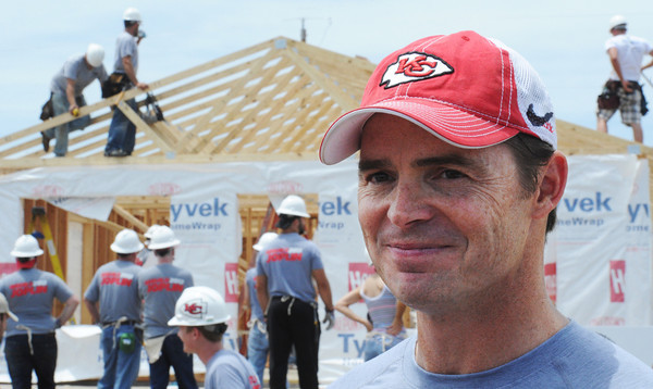 Globe/T. Rob Brown Kansas City Chiefs President Mark Donovan speaks as Chiefs personnel help build one of several homes in association with Habitat for Humanity Friday afternoon, June 15, 2012, in the vicinity of Kentucky Avenue and 26th Street.