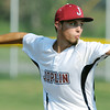 Globe/Roger Nomer<br /> Joplin's #4 (starting pitcher) delivers a pitch during Tuesday's game against Pryor.