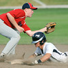 Globe/Roger Nomer<br /> Joplin's Gavin Williamson steals second ahead of a tag from Nevada's #25 during Wednesday's game.