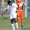 Demize's David Paul, right and Liverpool's xxx xx (10) vie for a header during their match on Friday night at the Joplin Athletic Complex.<br /> Globe|Laurie Sisk