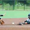 Joplin second baseman Mitch Glasser gets the put out on a steal attempt by St. Paul's Tony Thomas (3) during the Blasters' continuation game against the Saints on Wednesday at Warren Turner Field.<br /> Globe | Laurie Sisk