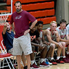 Joplin coach Jeff Hafer watches his players against Webb City during their game on Tuesday night at the Cardinal Dome.<br /> Globe | Laurie Sisk
