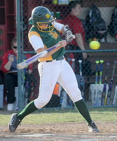 MIssouri Southern's Angel Badalamenti (16) swings at a pitch during the first game of a doubleheader against Pittsburg State on Friday at PSU.<br /> Globe | Laurie Sisk