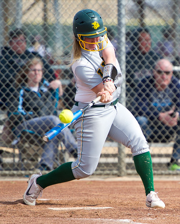 Missouri Southern shortstop Myranda Stewart makes contact during the Lions' game against Upper Iowa on Saturday at the Joplin Athletic Complex.<br /> Globe | Laurie Sisk