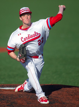 Cardinals hurler Tanner Lane (22) fires a pitch to the plate during Webb City's game against Joplin on Tuesday at JHS.<br /> Globe | Laurie Sisk