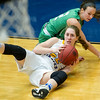 Pierce City's Ragan Blinzler (2) andCrane's Maggie Vaught (22) battle for a loose ball during their Missouri Class 2 Section 8 game on Thursday night at Carthage High School.<br /> Globe | Laurie Sisk