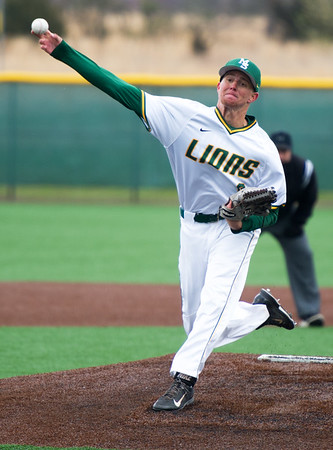 Missouri Southern pitcher Sean Goostree delivers a pitch to the plate during the second game of the Lions' doubleheader against Maryville University on Tuesday afternoon at Warren Turner Field.<br /> Globe | Laurie Sisk
