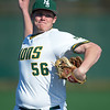Missouri Southern pitcher Seth Mesey hurls a pitch toward the plate during the Lions' game against Nebraska-Kearney on Friday at Warren Turner Field.<br /> Globe | Laurie Sisk