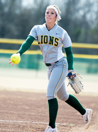 Missouri Southern Sydney Koch hurls a pitch toward the plate during the Lions' game against Upper Iowa on Saturday at the Joplin Athletic Complex.<br /> Globe | Laurie Sisk