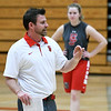 Carl Junction coach Brad Shorter leads his team during practice on Wednesday at Carl Junction High School.<br /> Globe   Laurie Sisk