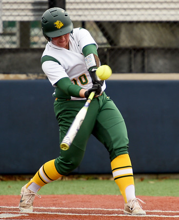 Missouri Southern's Emily Harris connects for a double during the seond game of a doubleheader against Fort Hays State on Thursday at Joplin High School.<br /> Globe   Laurie Sisk