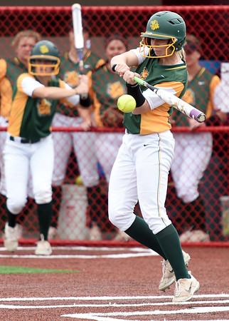 Missouri Southern's Emilee Meyer slaps her way onto first base during the Lions game on Friday at Pittsburg State.<br /> Globe   Laurie Sisk