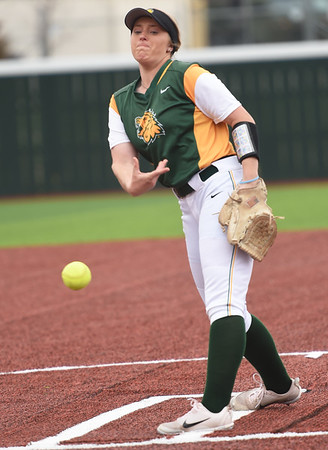 Missouri Southern's Natalie Hamm delivers a pitch to the plate during the Lions game against Pittsburg State on Friday at PSU.<br /> Globe   Laurie Sisk