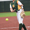 Missouri Southern's Natalie Hamm delivers a pitch to the plate during the Lions game against Pittsburg State on Friday at PSU.<br /> Globe | Laurie Sisk