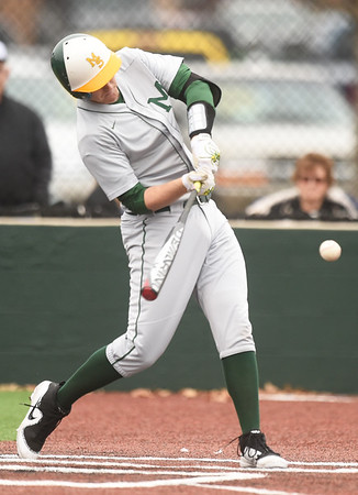 Missouri Southern's Joe Kinder connects for a fourth-inning single during the Lions game against Pittsburg State on Wednesday at Al Ortolani Field.<br /> Globe   Laurie SIsk