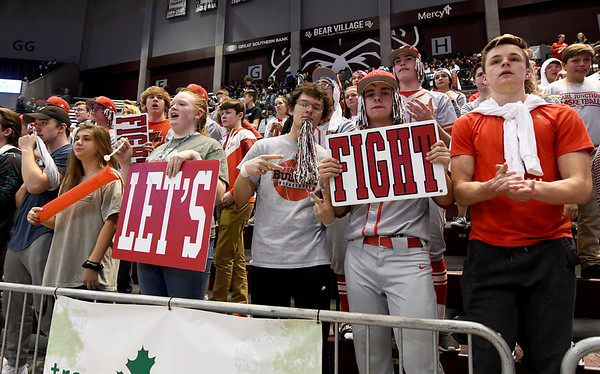 Carl Junction High School students cheer on their Lady Bulldogs during their Class 4 Championship game on Saturday at Missouri State.<br /> Globe   Laurie Sisk