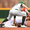 Missouri Southern shortstop Denver Coffee (10) tags Pittsburg State's Colton Pogue (6) for the out during their game on Wednesday at Al Ortolani Field.<br /> Globe | Laurie Sisk