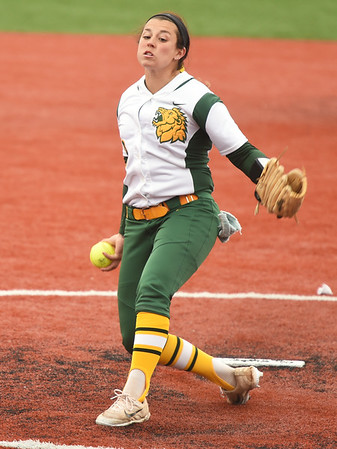 Missouri Southern's Taurean Guzman hurls a pitch to the plate during the seond game of a doubleheader against Fort Hays State on Thursday at Joplin High School.<br /> Globe   Laurie Sisk