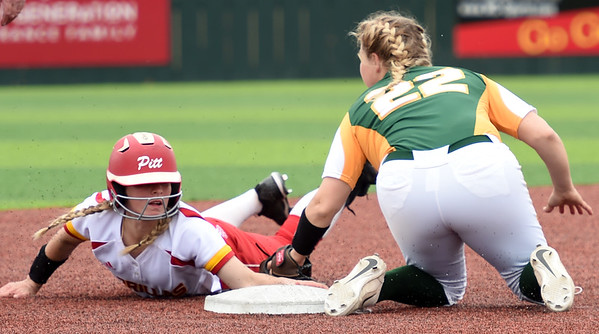 Pittsburg State's Brittanee Knepper slides safely into second base as Missouri Southern's Shelby Friend applies the tag during their game on Friday at PSU.<br /> Globe | Laurie Sisk